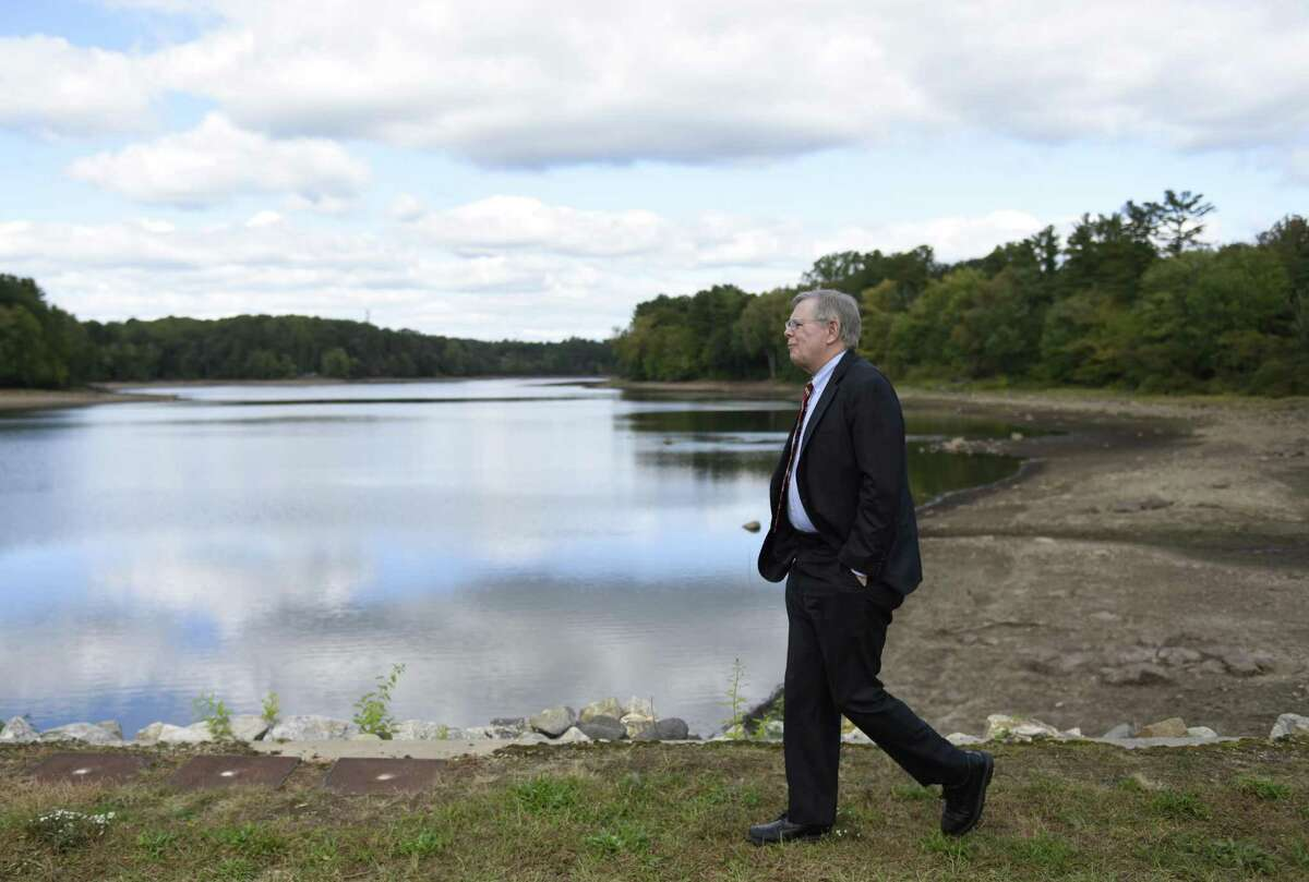 Stamford Mayor David Martin tours the Putnam Reservoir in Greenwich, Conn. Tuesday, Oct. 4, 2016. State and local officials toured the facility, taking note of the water level, following a long Department of Health meeting in which they discussed the drought and drinking water supply.