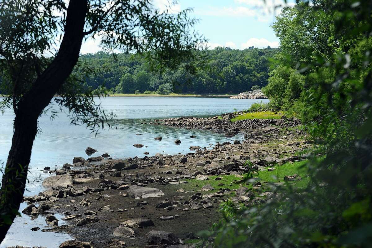 Water levels at the Laurel Reservoir in Stamford are low after the summer's moderate drought.
