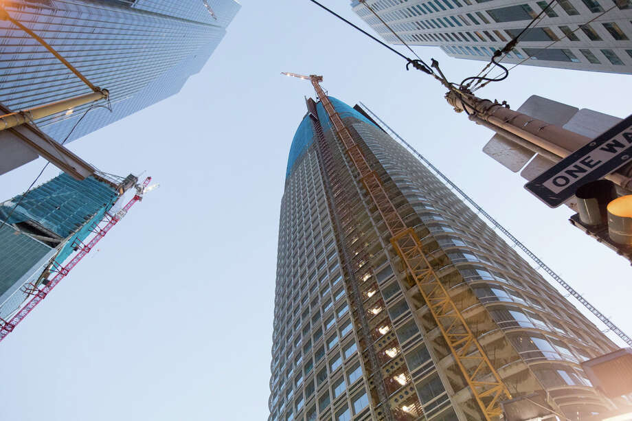 The view of the Salesforce Tower from the ground in San Francisco. Photo: Douglas Zimmerman / SFGate