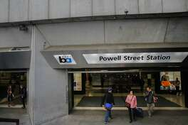BART's Powell Street station in San Francisco, Calif. as seen on Sat. November 7, 2015. BART is considering a remake of the station is hopes of improving the look of the unsightly ceilings, cracked floors, dirty walls and generally grimy appearance.