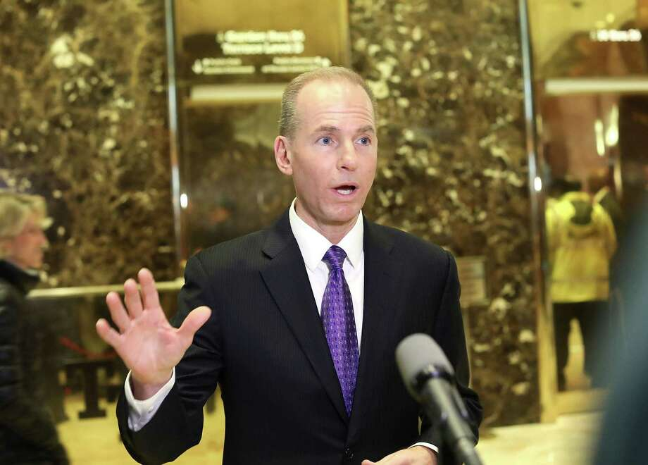 Boeing CEO Dennis Muilenburg speaks to the media at Trump Tower following a Tuesday meeting with Pesident-elect Donald Trump in New York City. ) Photo: Spencer Platt /Getty Images / 2017 Getty Images