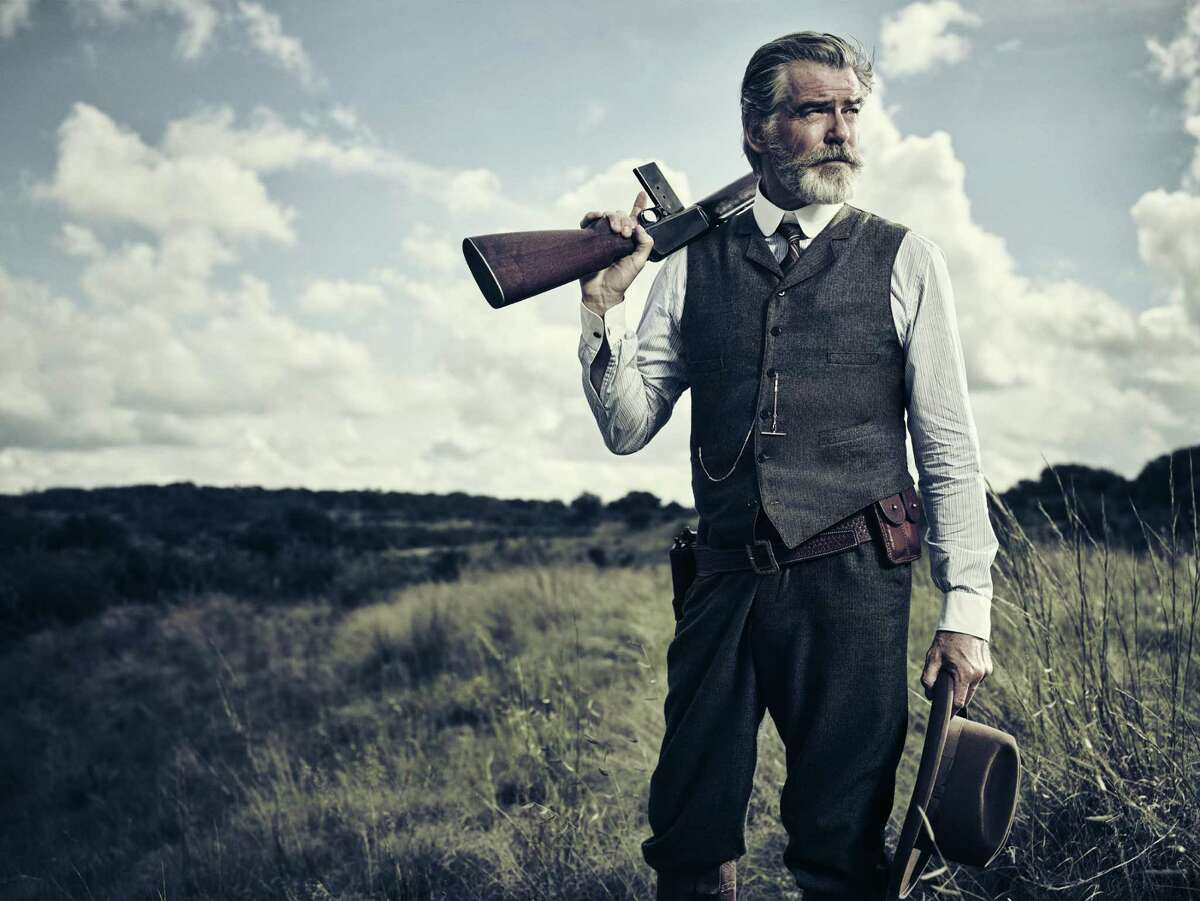 Pierce Brosnan as Eli McCullough in AMC's upcoming Texas saga 'The Son.' The actor emphasized how uncomfortably hot it was filming in Austin over the summer, 'hot as sin,' he said.