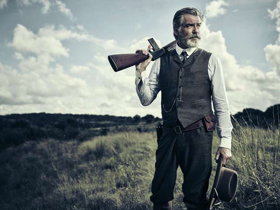 Pierce Brosnan as Eli McCullough in AMC's upcoming Texas saga 'The Son.' The actor emphasized how uncomfortably hot it was filming in Austin over the summer, 'hot as sin,' he said. Photo: AMC