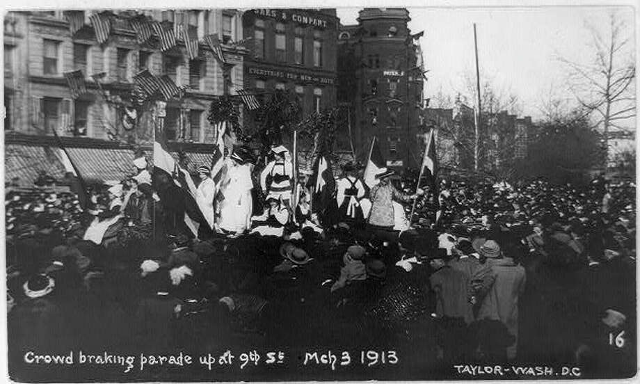 A huge women's parade led by the National American Woman Suffrage Association held March 3, 1913 ahead of the inauguration of President-elect Woodrow Wilson is credited with giving the suffrage movement new life. Photo: The White House