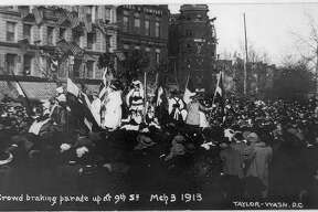 A huge women's parade led by the National American Woman Suffrage Association held March 3, 1913 ahead of the inauguration of President-elect Woodrow Wilson is credited with giving the suffrage movement new life.