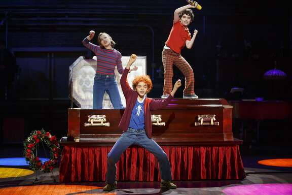 From left: Alessandra Baldacchino as Small Alison, Pierson Salvador as Christian and Lennon Nate Hammond as John in the national tour of �Fun Home� at the Curran.