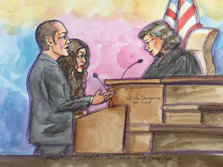 A courtroom sketch of Noor Salman, the wife of Omar Mateen, who carried out a deadly terrorist attack in Orlando, Fla., in federal court in Oakland, Calif. She has been charged with helping her husband in the months leading up to the attack, according to an indictment unsealed. Photo: Vicki Behringer, Special To The San Francisco Chronicle