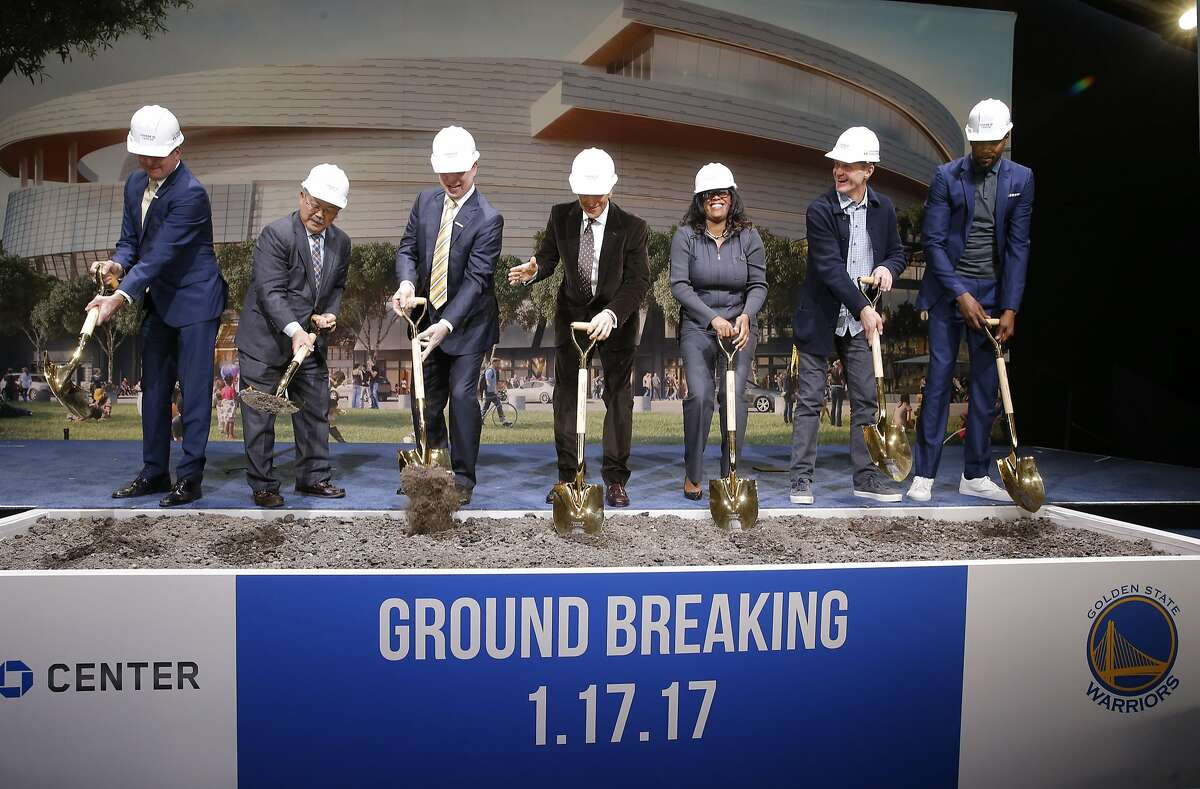 (l to r) Rick Welts, Warriors' President & COO, San Francisco Mayor Ed Lee, Warriors' owner Joe Lacob, co-owner Peter Guber, Thasunda Duckett, Chase consumer banking chief executive officer, Warriors' head coach Steve Kerr and Warriors' Kevin Durant as the NBA Golden State Warriors hold a ground breaking ceremony for Chase Center, the state-of-the-art sports and entertainment complex in San Francisco, Ca., on Tuesday Jan. 17, 2017.