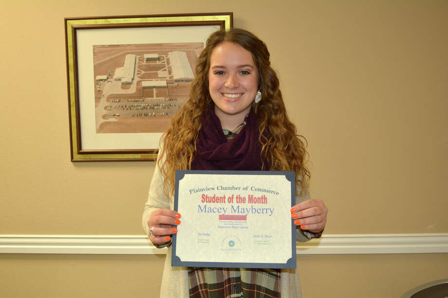 The Plainview Chamber of Commerce's Student of the Month for January, introduced at Tuesday's Chamber Board Meeting, is Plainview High School senior Macey Mayberry. The daughter of Keith and Ashley Mayberry, she is captain of the PHS Lady Bulldogs softball team, treasurer of National Honor Society and member of FCCLA and Jr. American Cancer Society. Her honors include Merit P Award, Second Team All-District and All-District Honorable Mention in softball, and a McKnight Leadership Program Scholar at Oklahoma State University. Her hobbies are watching and playing sports, and spending time with friends and family. Community activities include both First Baptist Church and the Catalyst youth group of Harvest Christian Fellowship, YMCA softball coach, Meals on Wheels and Snack Pak 4Kids volunteer and Hale County Jr. Literacy Council. Following graduation, Macey plans to attend Oklahoma State University and work with special needs children.