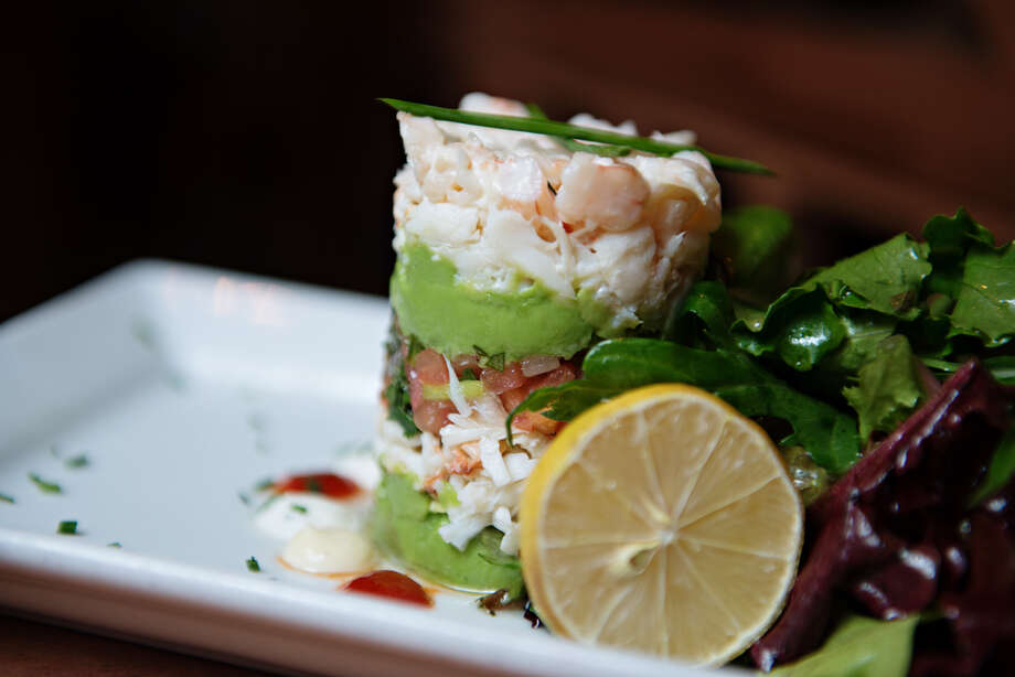 Chilled shrimp and crab tower: Fresh lump crab meat and shrimp layered with avocado and pico.  CLICK HERE! Photo: Courtesy Of Sleeping Owl Photography