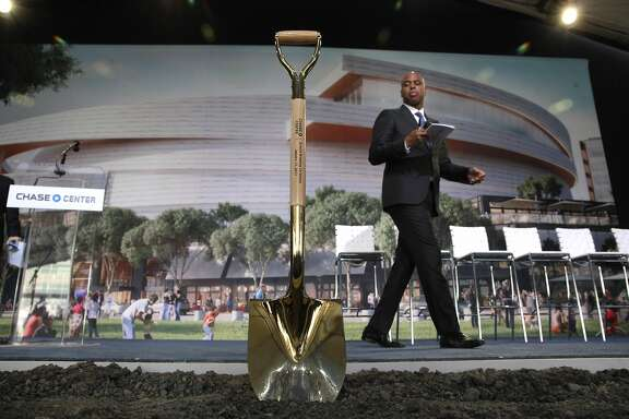 Event emcee Kevin Frazier checks out the stage before the start  as the NBA Golden State Warriors prepare to hold a ground breaking ceremony for Chase Center, the state-of-the-art sports and entertainment complex in San Francisco, Ca., on Tuesday Jan. 17, 2017.