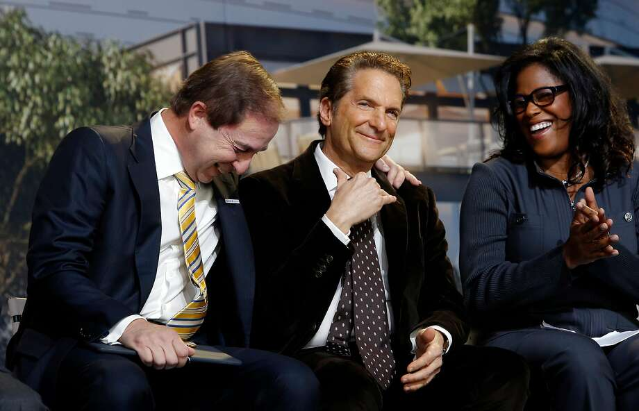 ( l to r) Warriors' owner Joe Lacob, co-owner and Peter Guber share a laugh along with Thasunda Duckett, Chase consumer banking chief executive officer, as the NBA Golden State Warriors hold a ground breaking ceremony for Chase Center, the state-of-the-art sports and entertainment complex in San Francisco, Ca., on Tuesday Jan. 17, 2017. Photo: Michael Macor, The Chronicle