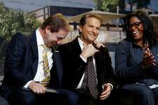 ( l to r) Warriors' owner Joe Lacob, co-owner and Peter Guber share a laugh along with Thasunda Duckett, Chase consumer banking chief executive officer, as the NBA Golden State Warriors hold a ground breaking ceremony for Chase Center, the state-of-the-art sports and entertainment complex in San Francisco, Ca., on Tuesday Jan. 17, 2017.