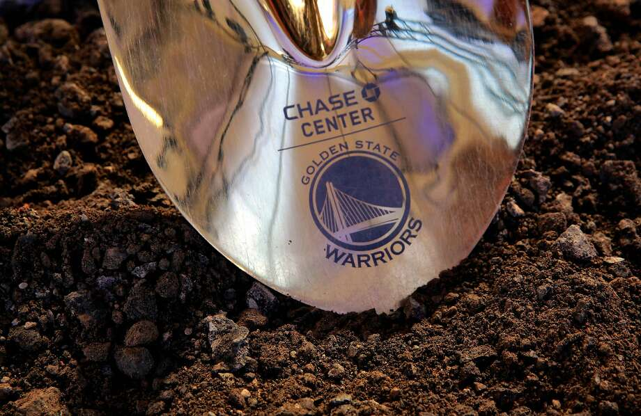 The ceremonial shovel as the NBA Golden State Warriors hold a ground breaking ceremony for Chase Center, the state-of-the-art sports and entertainment complex in San Francisco, Ca., on Tuesday Jan. 17, 2017. Photo: Michael Macor / The Chronicle