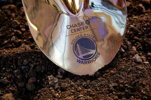 The ceremonial shovel as the NBA Golden State Warriors hold a ground breaking ceremony for Chase Center, the state-of-the-art sports and entertainment complex in San Francisco, Ca., on Tuesday Jan. 17, 2017.