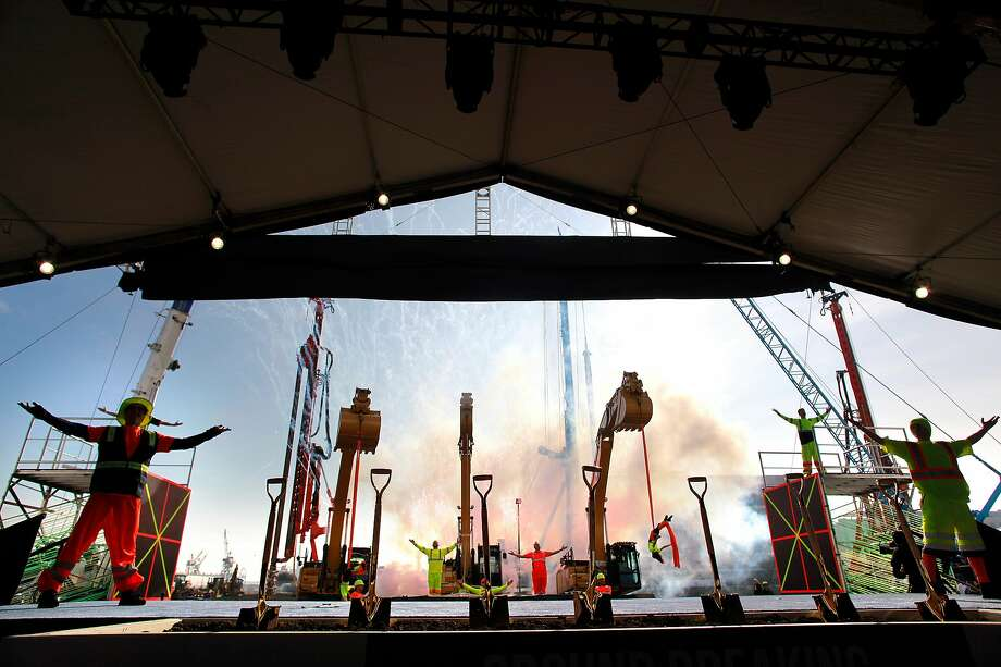 Fireworks and performers cap off the event as the building site as revealed as the NBA Golden State Warriors hold a ground breaking ceremony for Chase Center, the state-of-the-art sports and entertainment complex in San Francisco, Ca., on Tuesday Jan. 17, 2017. Photo: Michael Macor, The Chronicle