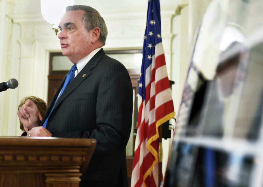 Mayor Gary McCarthy announces a grant to encourage the dedication of new seats at the CityOs outdoor music venue, Music Haven, during a news conference at City Hall Wednesday Nov. 16, 2016 in Schenectady, NY.  (John Carl D'Annibale / Times Union) Photo: John Carl D'Annibale / 20038811A