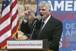 Franklin Graham speaks at a prayer rally attended by Governor Greg Abbott and Lt. Gov. Dan Patrick on April 26, 2016.