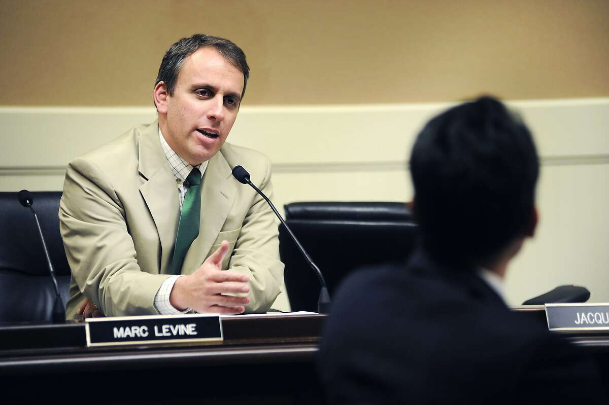 Assemblyman Marc Levine asks a question of associate professor of the University of Arizona's College of Education Ozan Jaquette, during an assembly hearing about UC Berkeley 's enrollment, at the State Capitol Building in Sacramento, CA Wednesday, August 26, 2015.