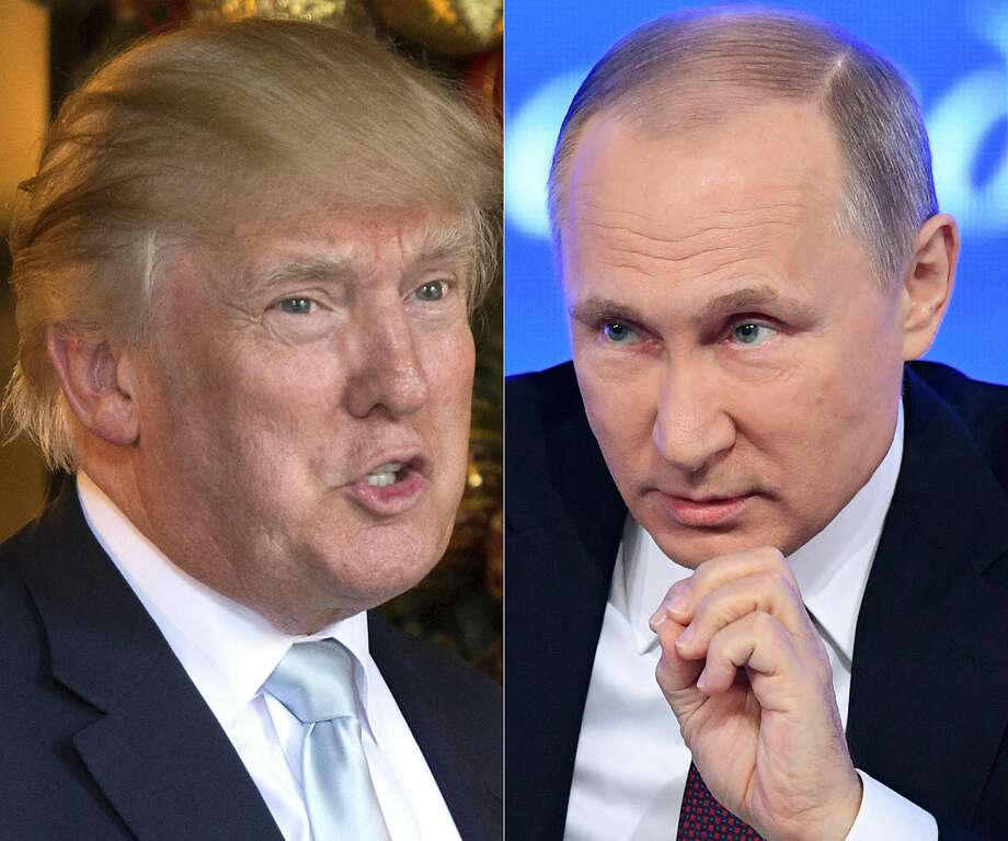 This combination of pictures shows a file photo taken on December 28, 2016 of U.S. President-elect Donald Trump (L) in Palm Beach, Florida and a file photo taken on December 23, 2016 of Russian President Vladimir Putin speaking in Moscow. Photo: DON EMMERT, AFP/Getty Images