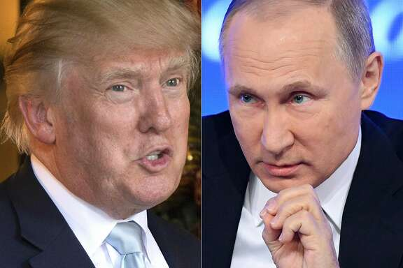 """(COMBO) This combination of pictures created on December 30, 2016 shows a file photo taken on December 28, 2016 of US President-elect Donald Trump (L) in Palm Beach, Florida and a file photo taken on December 23, 2016 of Russian President Vladimir Putin speaking in Moscow.  US President-elect Donald Trump plans to hold a summit with Russian leader Vladimir Putin on his first foreign trip shortly after taking office, the Sunday Times reported January 15, 2017, though a Trump spokeswoman denied the report as """"completely false."""" Trump would seek to """"reset"""" relations with the Kremlin, with Iceland the likely venue, emulating Ronald Reagan's Reykjavik meeting with Soviet leader Mikhail Gorbachev in 1986 during the Cold War, the British newspaper reported, citing unnamed British officials it said had been informed of the plan.  / AFP PHOTO / DON EMMERT AND Natalia KOLESNIKOVADON EMMERT,NATALIA KOLESNIKOVA/AFP/Getty Images"""