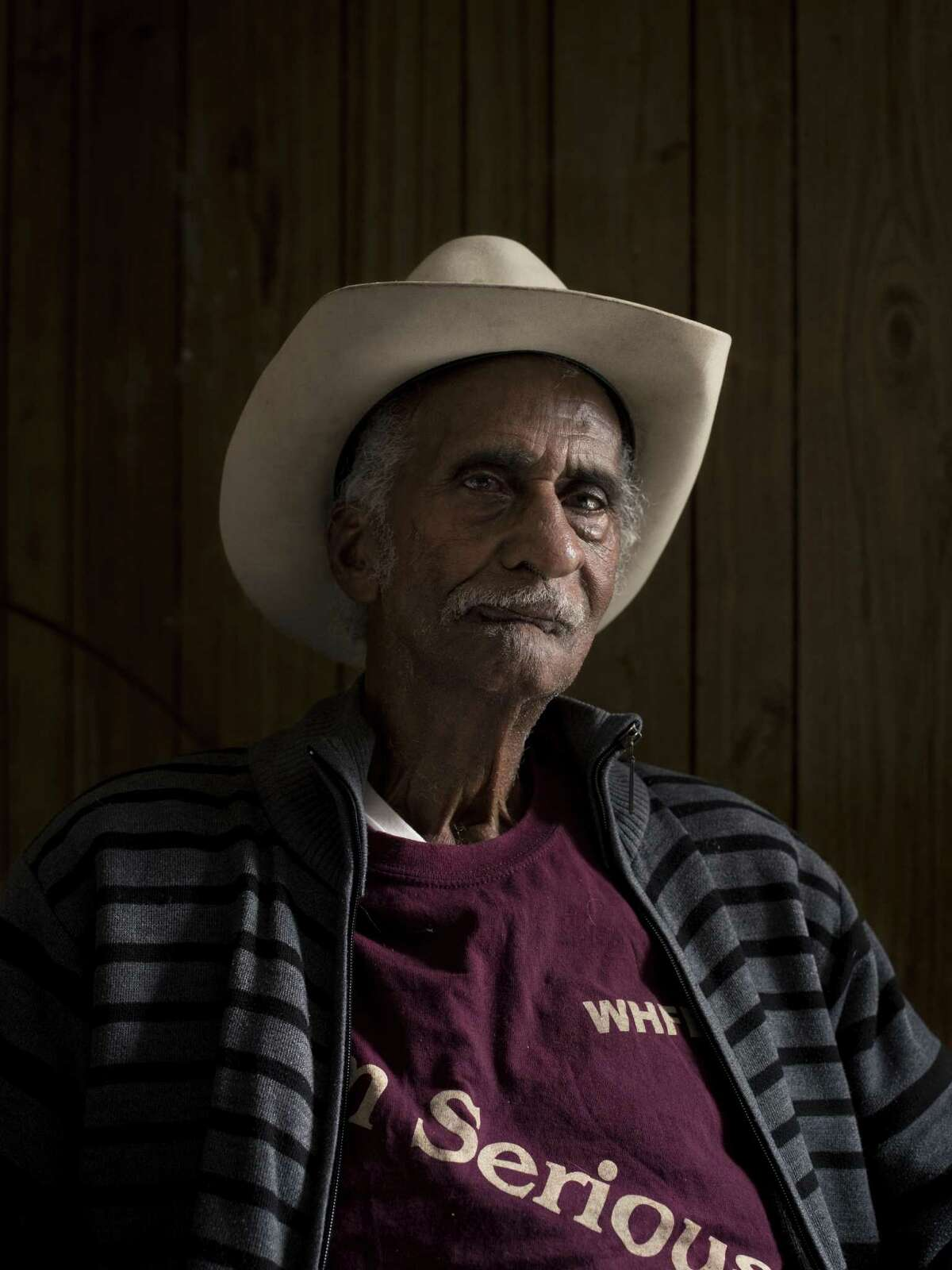 Walter Rodgers Jr., 85, poses for a portrait in his home, the first house on the Martin Luther King March's route in San Antonio, Texas on Monday, January 9, 2017. Rodgers said that he has been watching the march from the tailgate of his pickup truck for many years.