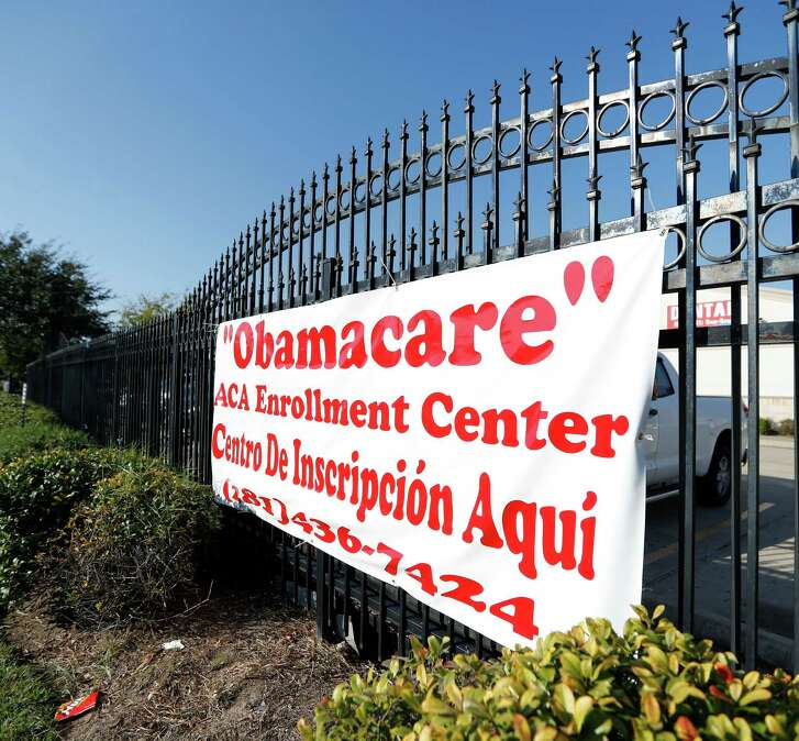 ACA Health Experts sign to help people get Obamacare hangs outside of the Ahmed and Roshan Virani Children's Clinic, Monday, Nov. 14, 2016 in Houston. ( Karen Warren / Houston Chronicle )
