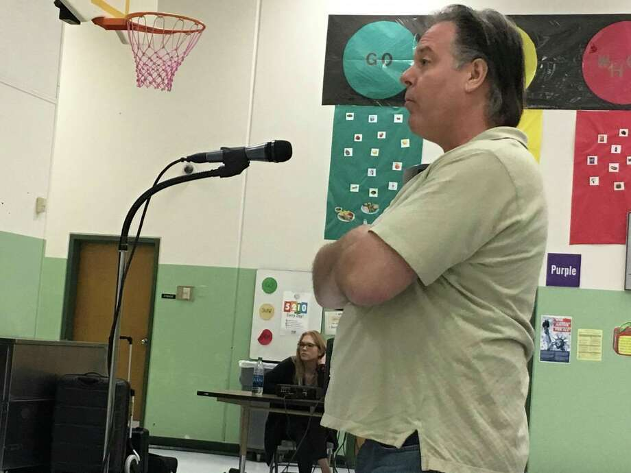 John Lansch was among about 25 Willis residents who urged TCEQ to deny Lehigh Hanson's permit application for a concrete batch plant during a public forum Thursday at Parmley Elementary School. Photo: Meagan Ellsworth