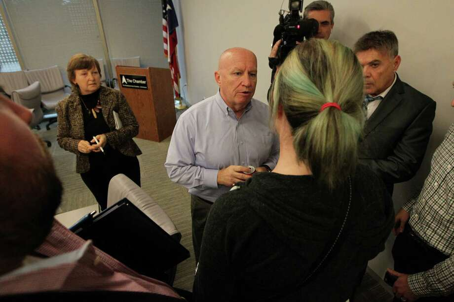 Congressman Kevin Brady stayed after his meeting to listen to local people affected by ObamaCare who shared their experiences with rising costs and loss of coverage and choice Tuesday, Jan. 17, 2017, in The Woodlands.  Congressman Brady who is leading repeal and replace efforts in the Ways and Means Committee. ( Steve Gonzales  / Houston Chronicle ) Photo: Steve Gonzales, Staff / © 2017 Houston Chronicle