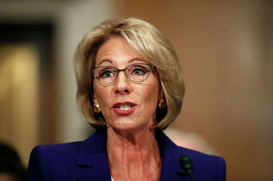 Education Secretary-designate Betsy DeVos testifies on Capitol Hill in Washington, Tuesday, Jan. 17, 2017, at her confirmation hearing before the Senate Health, Education, Labor and Pensions Committee. (AP Photo/Carolyn Kaster) Photo: Carolyn Kaster, STF / AP
