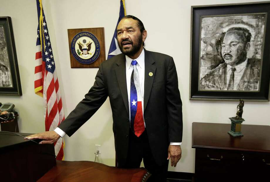 Congressman Al Green talks after a press conference about his decision to not attend the 2017 Presidential Inauguration shown at his office, 3003 South Loop West, Tuesday, Jan. 17, 2017, in Houston. ( Melissa Phillip / Houston Chronicle ) Photo: Melissa Phillip, Staff / © 2017 Houston Chronicle