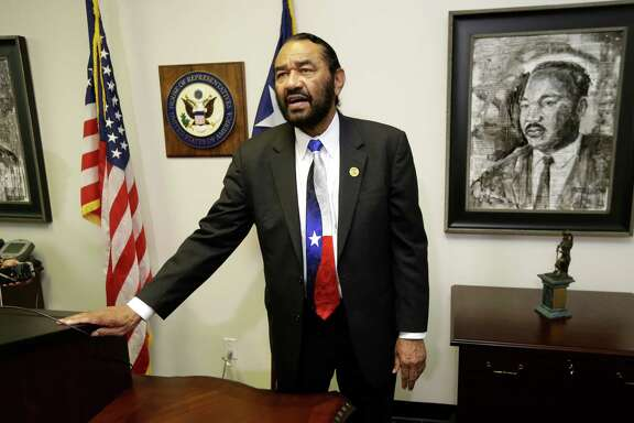 Congressman Al Green talks after a press conference about his decision to not attend the 2017 Presidential Inauguration shown at his office, 3003 South Loop West, Tuesday, Jan. 17, 2017, in Houston. ( Melissa Phillip / Houston Chronicle )