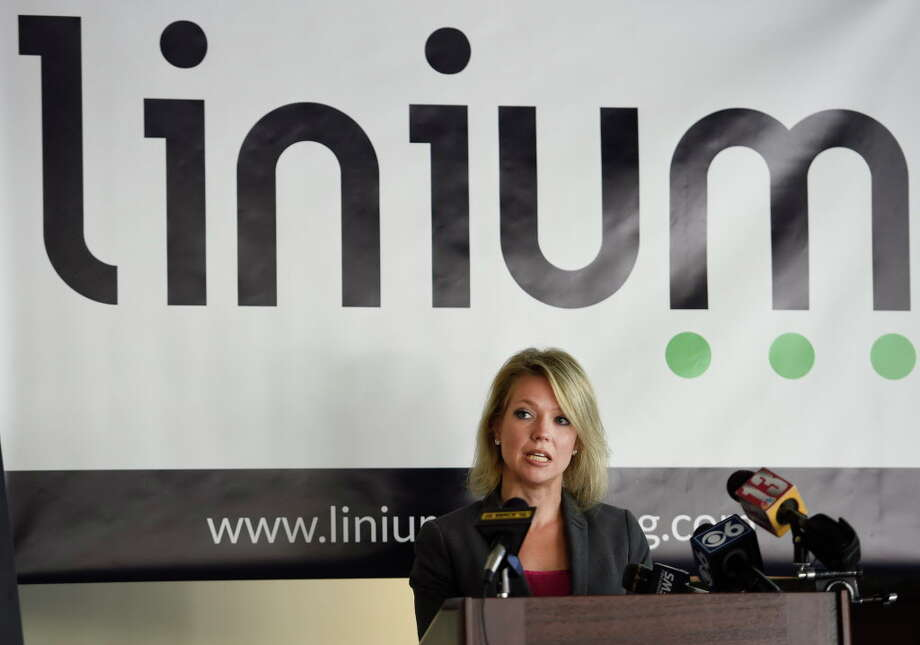 Miriam Dushane, Linium Recruiting's managing director for upstate New York, back on Oct. 12, 2015 when the company announced the first ever results of the Linium Hiring Index at the offices of Transfinder's in Schenectady, N.Y.     (Skip Dickstein/Times Union) Photo: SKIP DICKSTEIN / 10033711A
