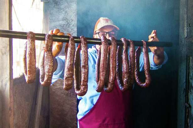 Arthur Yarbough with homemade beef links atCaroline's Quality & Quantity in Kountze
