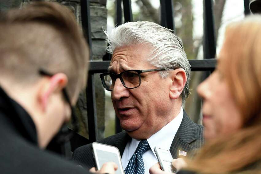 Sen. James Tedisco comments on Gov. Andrew Cuomo?'s budget proposal following a closed-door budget meeting with lawmakers at the Executive Mansion on Tuesday, Jan. 17, 2017, in Albany, N.Y. (Will Waldron/Times Union)