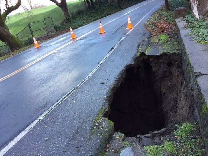 A 72-inch diameter sinkhole was reported along the shoulder of Miner Road near Camino Lenada on Jan. 11, fire officials said.
