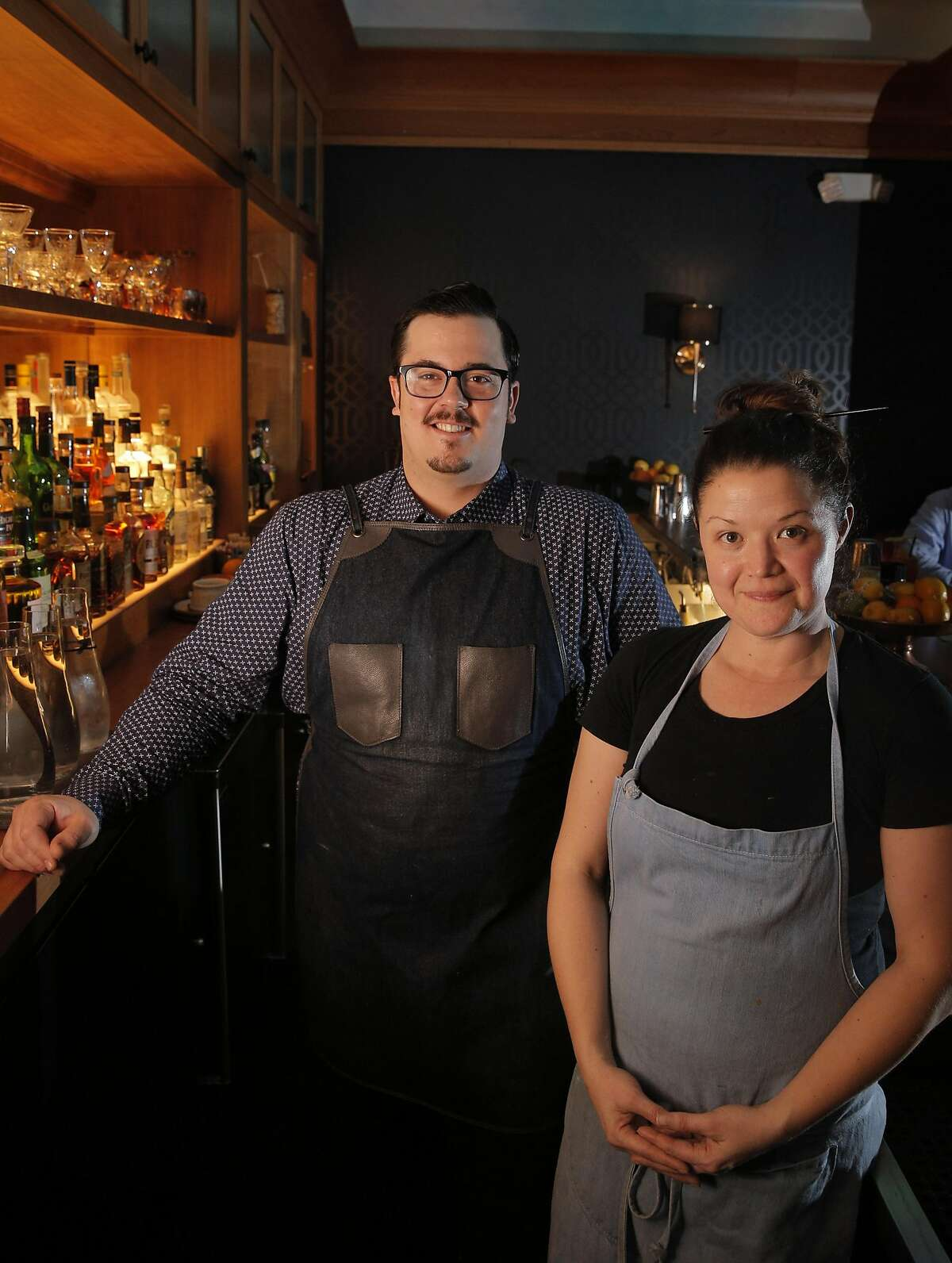 Owner Kim Alter, and Bar Manager Drew Majoulet at the Linden Room in San Francisco, Calif., on Tuesday, January 17, 2017.