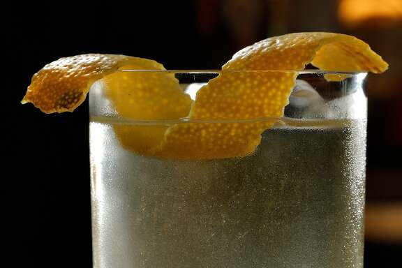 The Golden Era cocktail contains gold flakes and is served at the Linden Room in San Francisco, Calif., on Tuesday, January 17, 2017.