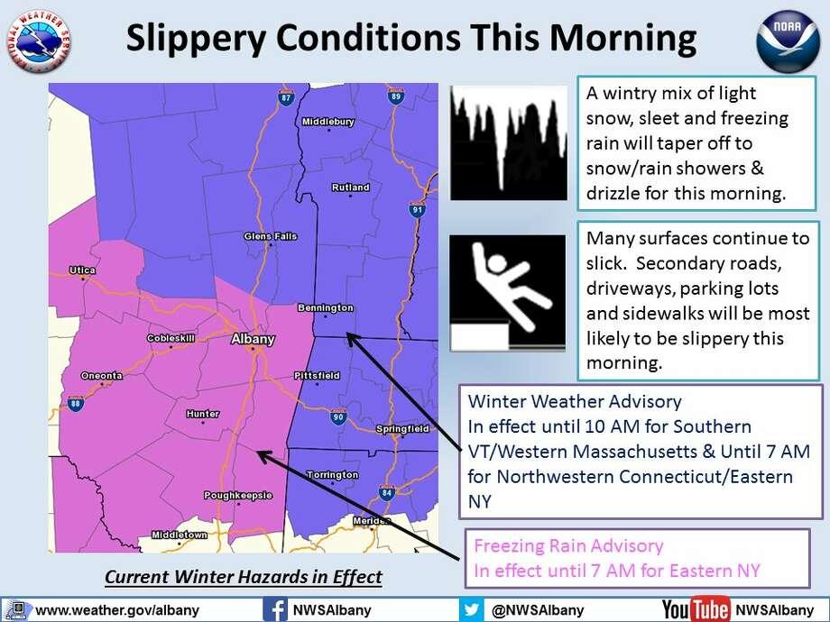 The National Weather Service winter hazard warning for Wednesday, Jan. 18, 2017. (National Weather Service graphic)