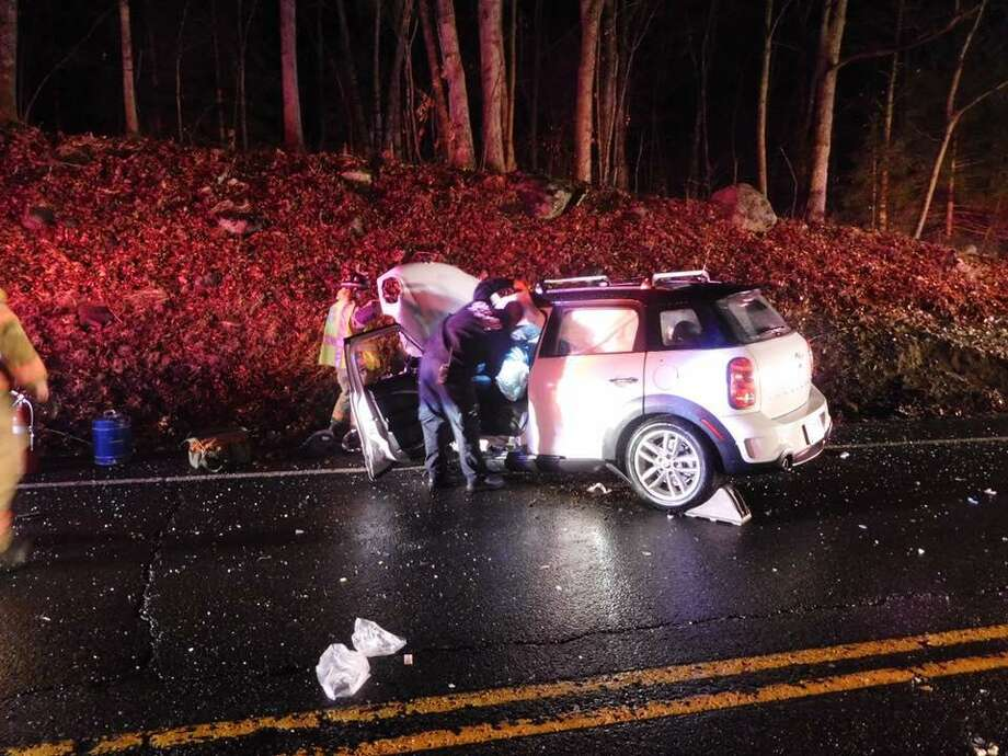 Two vehicles were heavily damaged in an accident on Tuesday, Jan. 17, 2017 on Route 67, near Old State Road. Photo: Oxford Fire Rescue Photo Via Facebook