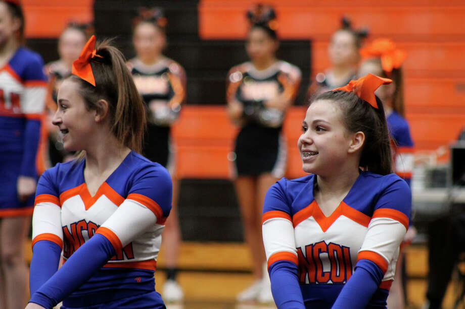 Lincoln Middle School cheerleaders compete earlier in the year at Lucco-Jackson Gymnasium. Cheerleading could be cut if Proposition E doesn't pass. Photo: Bill Tucker • Intelligencer