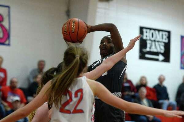 Central's Dereca Garrett shoots against Lumberton during a girls' basketball game in Lumberton on Tuesday evening.  Photo taken Tuesday 1/17/17 Ryan Pelham/The Enterprise