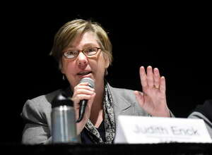 Judith Enck, Environmental Protection Agency Regional Administrator for Region 2, addresses questions on PFOA contamination in the village of Hoosick Falls water system on Thursday, Jan. 14, 2016, at Hoosick Falls Central School in Hoosick Falls, N.Y. (Cindy Schultz / Times Union)