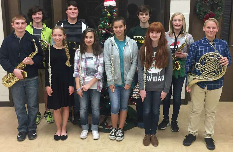 Little Cypress Junior High band students(from left) Landon Acord, Spencer Layman, Allie Shaffer, Spencer Brister, Emma Kasti, Brianna Martinez, Blade Barlow, Rylie Dollar, Aiden Watson and Jace Peveto. Photo: LC-M ISD
