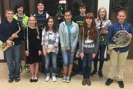 Little Cypress Junior High band students(from left) Landon Acord, Spencer Layman, Allie Shaffer, Spencer Brister, Emma Kasti, Brianna Martinez, Blade Barlow, Rylie Dollar, Aiden Watson and Jace Peveto.