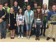 Little Cypress Junior High band students (from left) Landon Acord, Spencer Layman, Allie Shaffer, Spencer Brister, Emma Kasti, Brianna Martinez, Blade Barlow, Rylie Dollar, Aiden Watson and Jace Peveto.