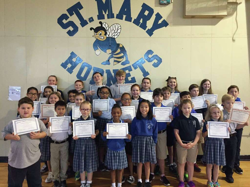 St Mary Catholic School Recently Awarded Honor Roll Certificates To Students For The Second Nine