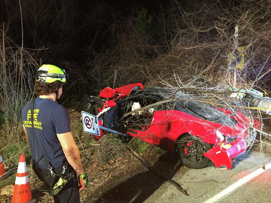 A drunk driver totaled his $385,000 Ferrari on Jan. 13, 2017, after he crashed it into the woods while driving over 100 mph. Photo: Austin Fire Department
