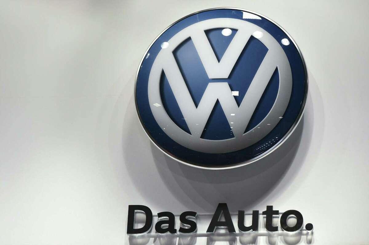 A Volkswagen logo at the 2016 Washington Auto Show in Washington, DC.