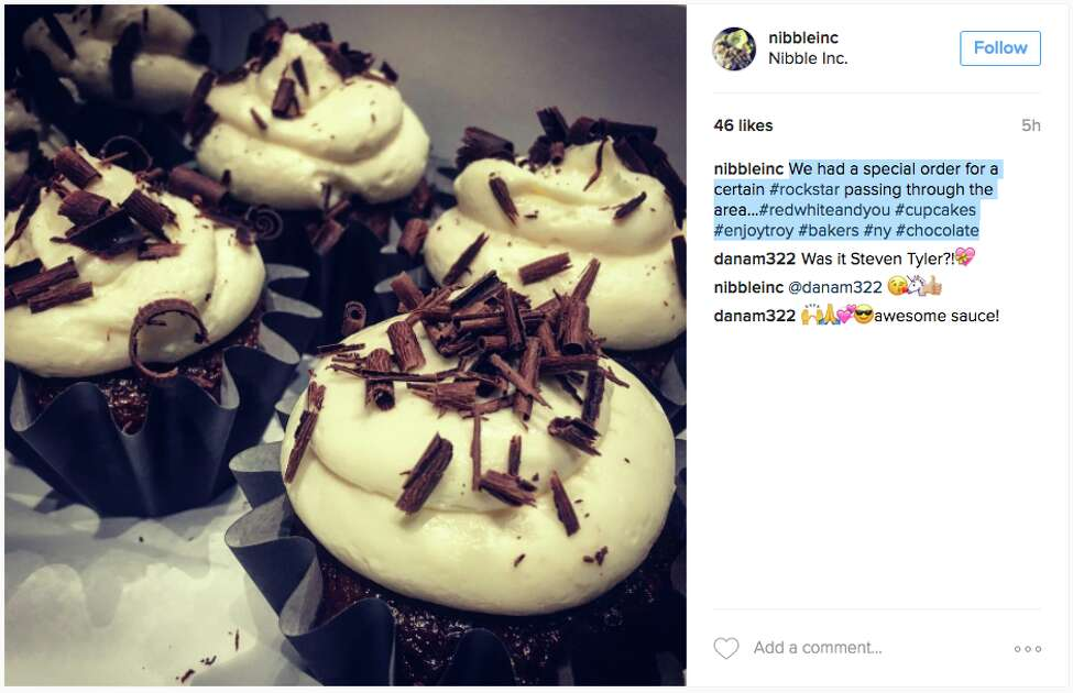 Nibble Inc's Instagram post hinting at Steven Tyler's special order.